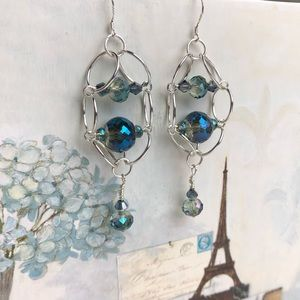 Jewelry - Crystal and Silver Tone Earrings